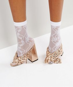 Read more about Asos lace mesh ankle sock - white
