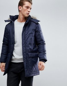 Read more about French connection parka with faux fur hood - navy