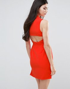 Read more about Lavish alice shift dress with cut out back - orange