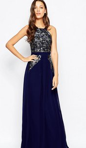 Read more about Little mistress tall halter neck sequin bodice maxi dress - navy