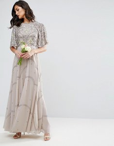 Read more about Asos wedding embellished floral flutter sleeve maxi dress - grey