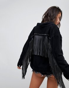 Read more about Missguided tassel and stud denim jacket - black