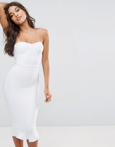 Read more about Prettylittlething premium bandage frill hem midi dress - white