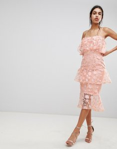 Read more about Asos design tiered pencil midi dress in 3d floral embroidery - coral