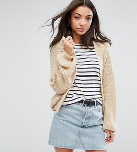 Read more about Asos tall chunky cardigan in fluffy rib - stone