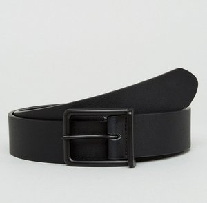 Read more about Asos wide faux leather belt in black with matte black buckle - black
