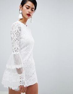 Read more about Missguided high neck bell sleeve lace dress - white