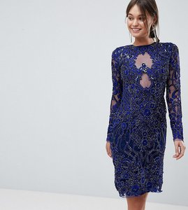 Read more about A star is born pencil dress in all over embellishment - french navy