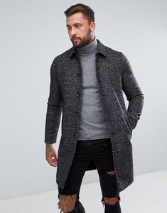 Read more about Asos wool mix trench coat in navy check - navy