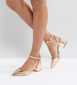 Read more about Asos scarlette mid heels - nude metallic