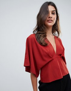 Read more about Asos design plunge top with batwing - rust