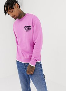 Read more about Tommy jeans small chest logo crewneck sweatshirt relaxed regular fit in pink - pink