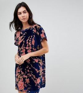 Read more about Glamorous tall oversized t-shirt dress in floral velvet - navy multi