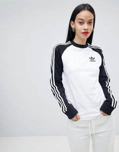 Read more about Adidas originals three stripe long sleeve t-shirt in black and white - white black