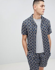 Read more about Another influence geometric print revere collar short sleeve shirt - navy