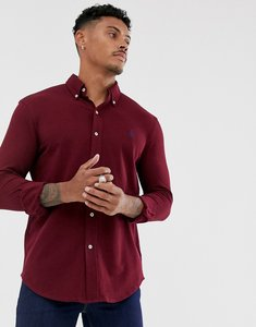 Read more about Polo ralph lauren slim fit pique shirt in burgundy with player logo