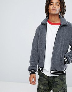 Read more about Asos borg bomber jacket in charcoal - grey