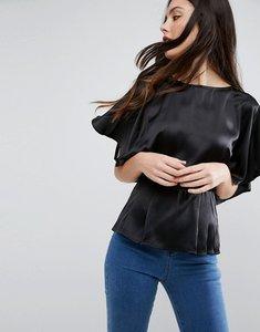 Read more about Asos kimono sleeve blouse in satin - black