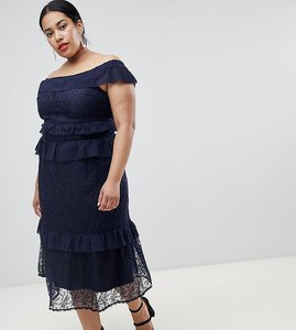 2b670ba51fd Read more about Lost ink plus off shoulder maxi dress with tiered ruffle  layers in lace