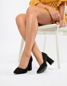 Read more about Raid cambria black block heeled shoes - black suede