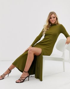 Read more about other stories high-neck thigh-split dress in khaki green