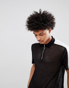 Read more about Asos design relaxed longline polo shirt in mesh in black - black