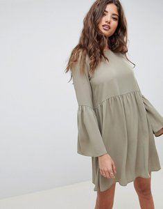 Read more about Asos design fluted sleeve smock mini dress - khaki