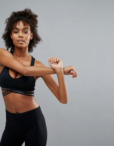 Read more about Bershka sports bra with mesh detailing - black