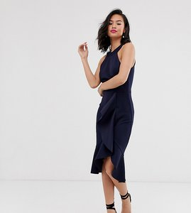 Read more about Laced in love scuba high neck ruffle detail pencil dress in navy