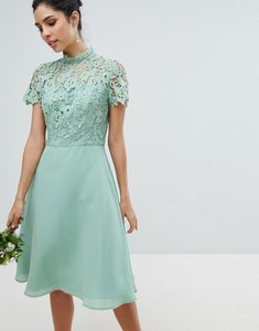 Read more about Chi chi london 2 in 1 high neck midi dress with crochet lace - green lily