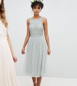 Read more about Maya sleeveless sequin bodice tulle detail midi bridesmaid dress with cutout back - green lily