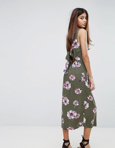 Read more about Warehouse ocean floral tie back dress - khaki