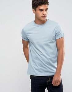 Read more about Asos t-shirt with crew neck and roll sleeve - neptune