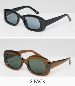 Read more about Asos design 2 pack square 90 s sunglasses in black and brown - multi