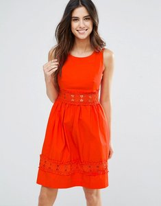 Read more about Louche larkspur dress with crochet trim - red