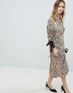 Read more about Asos midi dress with one sleeve and ruched detail in animal print - multi