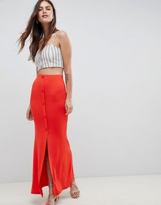 Read more about Asos design maxi skirt with button front and split detail - red
