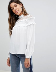 Read more about Fashion union high neck blouse with high neck and ruffle detail - white