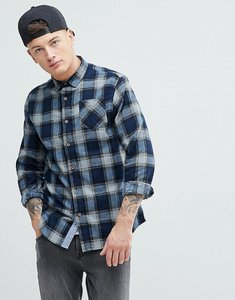 Read more about Brave soul long sleeve brushed check shirt - navy