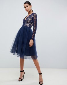Read more about Rare london midi prom dress with scalloped lace detail in navy