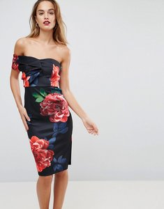 Read more about Asos one shoulder folded floral midi bodycon dress - multi