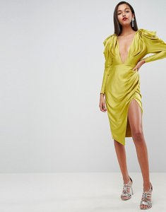 Read more about Asos edition pintucked power shoulder midi dress - chartreuse