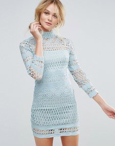 Read more about Club l long sleeve crochet detailed high neck dress - sky blue