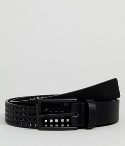 Read more about Asos slim belt in black faux leather with perforated holes - black