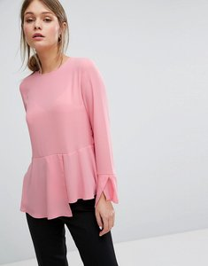 Read more about Warehouse peplum hem top - light pink