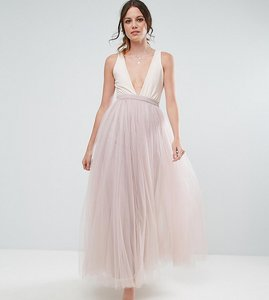 Read more about Little mistress tall maxi tulle prom skirt - mink