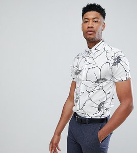 Read more about T for tall ted baker slim smart shirt in white floral print - white
