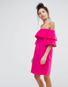 Read more about Bershka off the shoulder double frill dress - pink