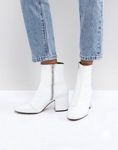 Read more about Asos rosana leather block heeled boots - white