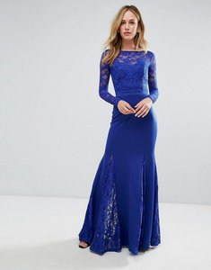 Read more about City goddess fishtail maxi dress with lace sleeves - royal blue